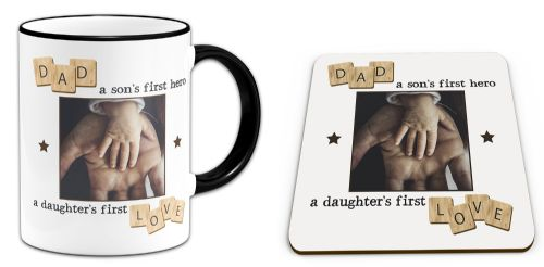 Set of Personalised Dad, A Son's First Hero, A Daughter's First Love Novelty Mug & Coaster - Black